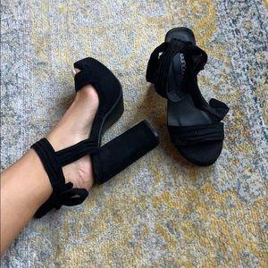 Suede platform chunky heels